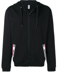 Moschino Logo Trim Hoodie - ブラック