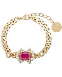 Anton Heunis Gold-plated Crystal And Pearl Bracelet - Pink