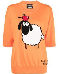 Boutique Moschino Haut en maille intarsia - Orange