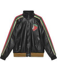 Gucci Leather Bomber Jacket With Strawberry - Black