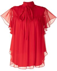 Adam Lippes Ruffled Sleeve Blouse - Red