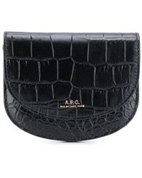 A.P.C. Croc-embossed Coin Purse - Black