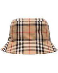 Burberry チェック バケットハット - ブラウン