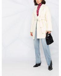 Ganni Однобортное Пальто С Поясом - Белый