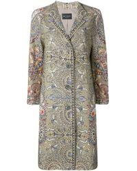Etro Paisley Print Straight-cut Coat - Green
