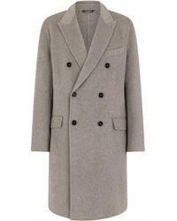 Dolce & Gabbana Двубортное Кашемировое Пальто - Серый