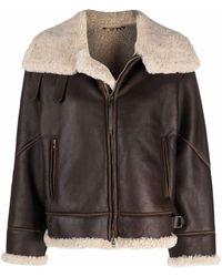 Giorgio Armani Shearling-trim Leather Jacket - Brown
