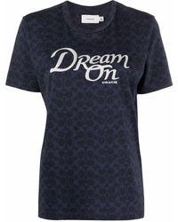 COACH T-Shirt mit Slogan-Print - Blau