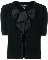 DKNY - Tie Neck Cardigan - Lyst