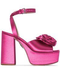 Miu Miu Sandalias con aplique de rosa y plataforma