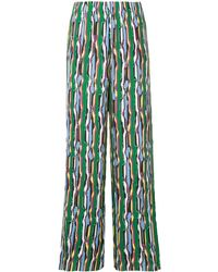 Solace London Patterned Wide Leg Pants - Green