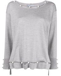 Blumarine - Pearl Embellished Fine-knit Jumper - Lyst