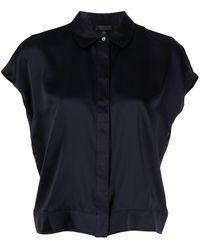 ATM Cap-sleeves Silk Shirt - Blue