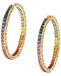 Dolce & Gabbana Серьги-кольца Из Желтого Золота С Бриллиантами И Сапфирами - Металлик
