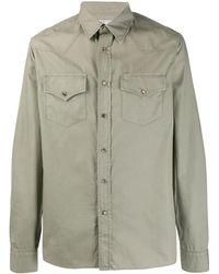 Brunello Cucinelli Поплиновая Рубашка - Зеленый