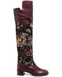 L'Autre Chose Floral Print Leather Boots - Purple