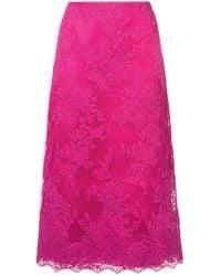 Marchesa - A-line Midi Lace Skirt - Lyst