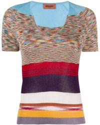 Missoni Top de punto con cuello en V y diseño colour block - Azul