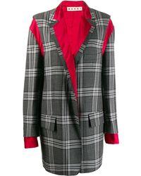 Marni Деконструированное Пальто В Клетку - Серый