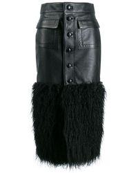 Saint Laurent エコファートリム スカート - ブラック