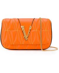 Versace Logo Plaque Cross Body Bag - Orange