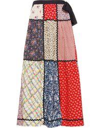 Miu Miu Panelled Floral Skirt - Red