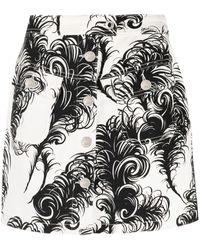 Moschino フェザープリント Aラインスカート - ホワイト