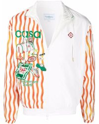 CASABLANCA Tennis ストライプ スポーツジャケット - ホワイト