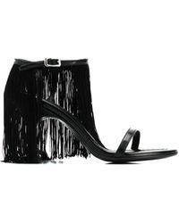 MM6 by Maison Martin Margiela Ankle Fringed Sandals - Black