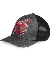 329c6a7a16829 Gucci Gg Supreme Baseball Hat With Angry Cat in Black for Men - Lyst