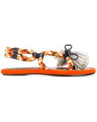 Carven Woven Tassel Sandals - Multicolour