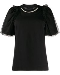 Simone Rocha チュールスリーブ Tシャツ - ブラック