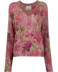 Laneus V-neck Floral Knitted Top - Pink