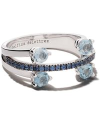 "Delfina Delettrez - ""18kt White Gold, Sapphire And Aquamarine Linked Dots Ring"" - Lyst"