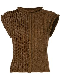 Chloé Mixed-stitch Wool-blend Sweater - Brown