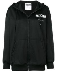 Moschino Logo Printed Hooded Jacket - Black