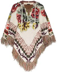 Etro Intarsia Floral Knit Hooded Poncho - Multicolor