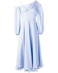 ALEXACHUNG ワンショルダー ドレス - ブルー