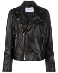 Calvin Klein レザー ライダースジャケット - ブラック