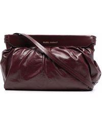 Étoile Isabel Marant Logo-print Ruched Leather Clutch Bag - Red