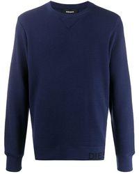 DIESEL ワッフルニット スウェットシャツ - ブルー
