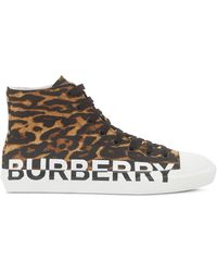 Burberry High-Top-Sneakers mit Leoparden-Print - Braun