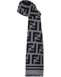 Fendi Шарф С Бахромой И Логотипом Ff - Серый