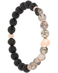 Tateossian Nugget Beaded Rose Gold Bracelet - Black