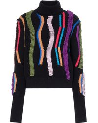 Peter Pilotto Loop Embroidered Turtleneck Sweater - Blue
