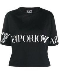 EA7 ロゴ クロップド Tシャツ - ブラック