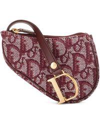Dior Мини-сумка Saddle С Узором Trotter - Красный