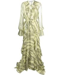 Faith Connexion Silk Print Ruffle-wrap Dress - Yellow
