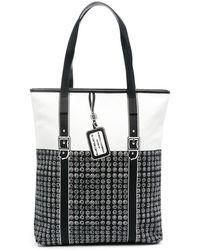 10 Corso Como Geometric-print Panelled Shoulder Bag - Black