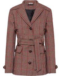 Miu Miu Checked Belted Coat - Red